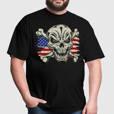 Skull Crossbones USA Flag - Men's T-Shirt