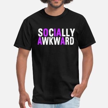 Awkward Weird Geek Socially Awkward White And Purple - Men's T-Shirt