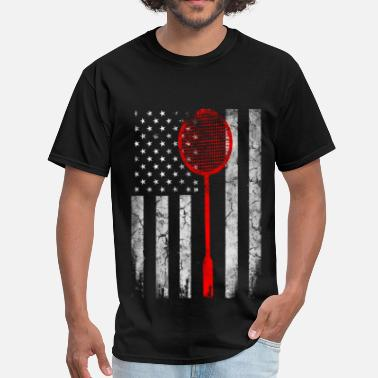 Badminton Bear USA Badminton lovers -  Badminton Flag - Men's T-Shirt