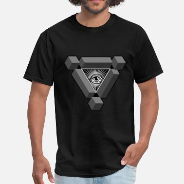 Black Pyramid 3D Freemasonry Illuminati eye of providence - Men's T-Shirt