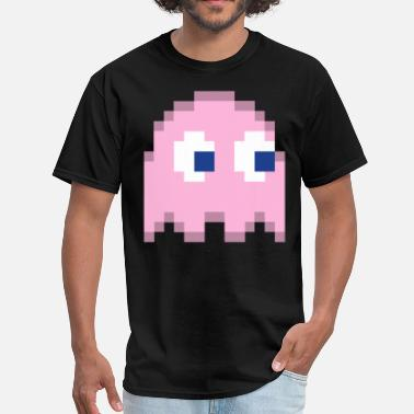 Pac Man Ghost Pink Pixel Man Halloween Ghost Easy Costume 1 of 4 - Men's T-Shirt
