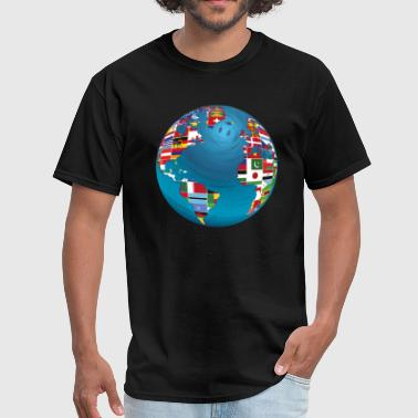World Map Globe Atlas National Flags Earth Day - Men's T-Shirt