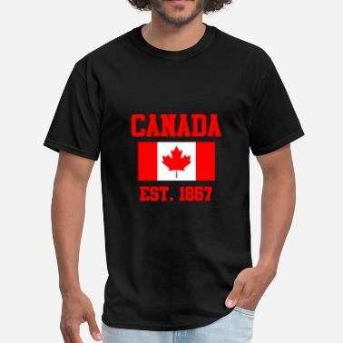 Canada 1867 CANADA Maple Leaf Flag Canadian Winter Sports - Men's T-Shirt