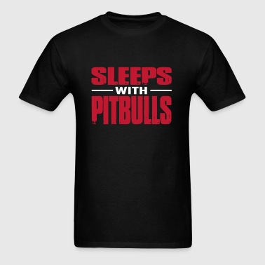 Sleeps With Pitbulls Shirt - Men's T-Shirt