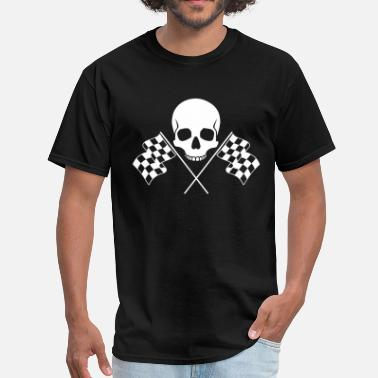 Checkered Flag Skull Checkered Flags - Men's T-Shirt