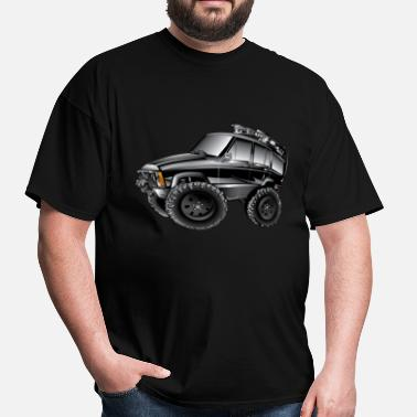 Jeep Cherokee Offroad Xj XJ Jeep Cartoon Black - Men's T-Shirt