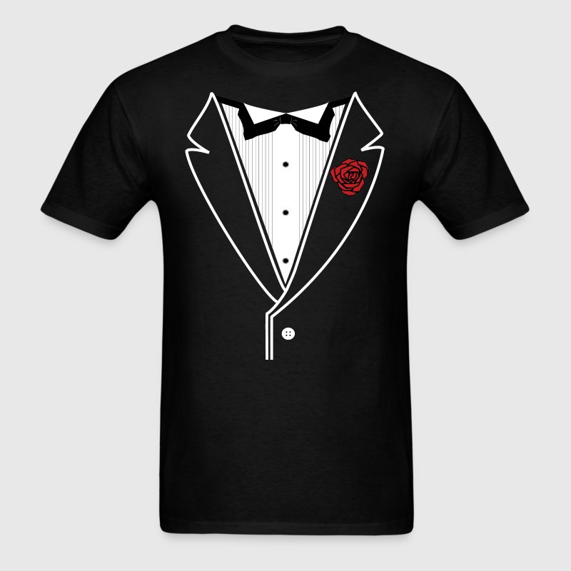 TUXEDO with Red Rose - Men's T-Shirt