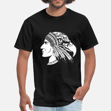 Indian Cars Native American Indian - Heads of man and eagle - Men's T-Shirt