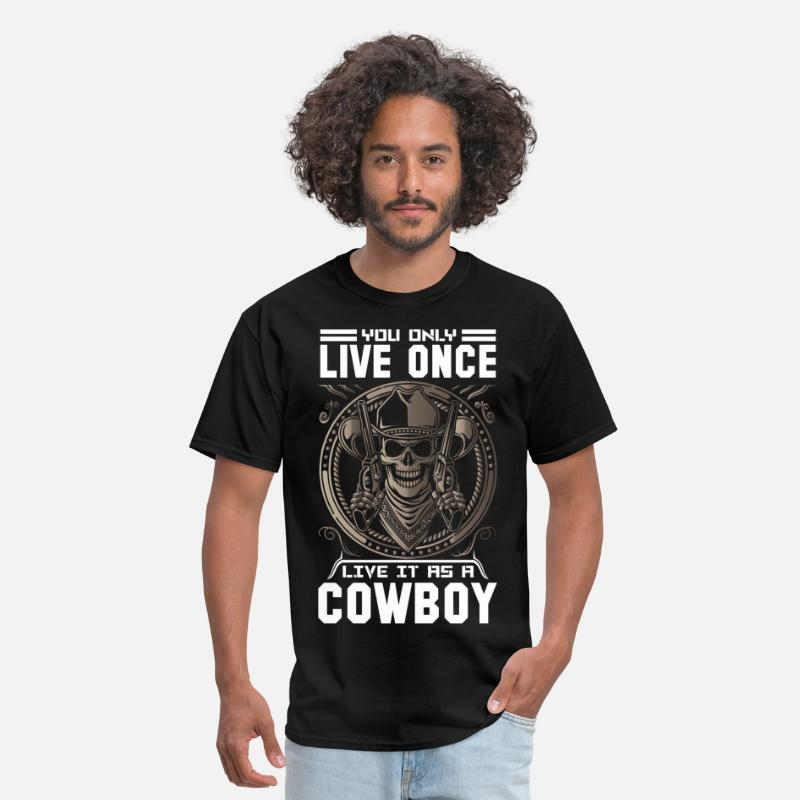 Animal T-Shirts - You Only Live Once It as a Cowboy - Men's T-Shirt black