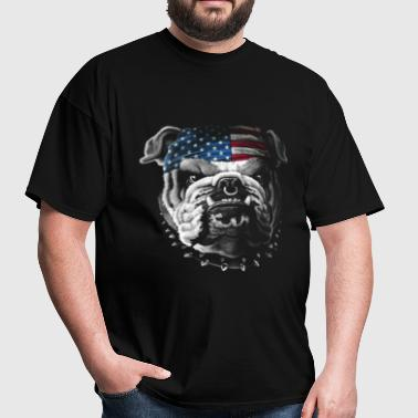 Bulldog Wearing Bandana Cool Dog Puppy Animal Love - Men's T-Shirt