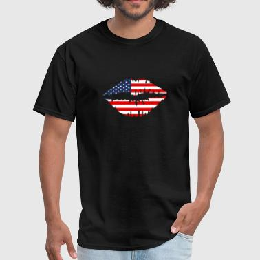 American flag lips shirt - Men's T-Shirt