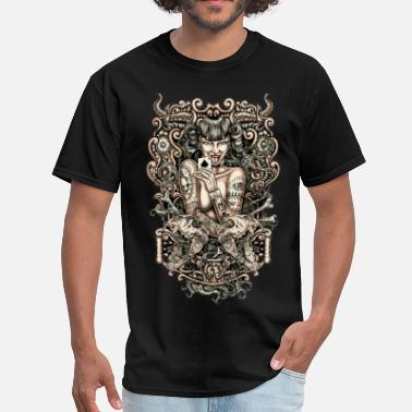 Satanic Tattoos Tattooed evil Girl - Men's T-Shirt