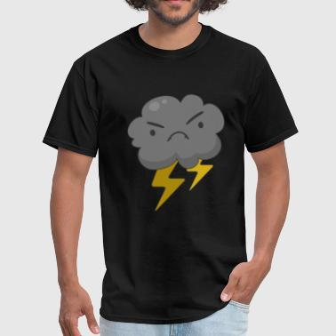 Kids Thunderstorm Angry Cloud with Lightning Thunderstorm - Men's T-Shirt