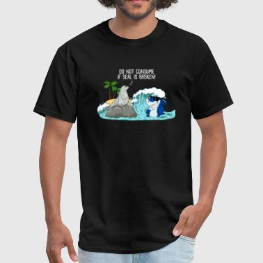 Consumer Jokes Do Not Consume If Seal Is Broken Seal & Shark - Men's T-Shirt