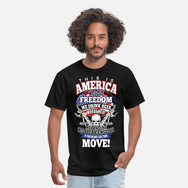America T-Shirts - This Is America We Love Freedom We Drink Beer - Men's T-Shirt black