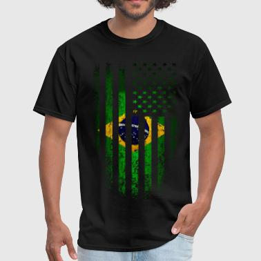 US Brazil Flag Grunge - Men's T-Shirt