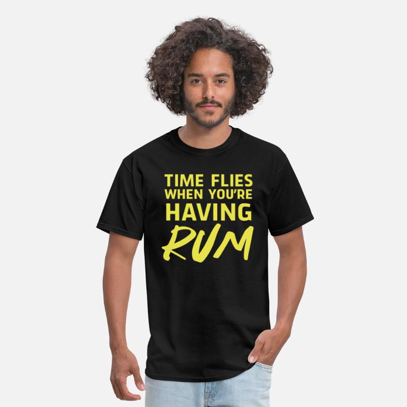 Alcohol T-Shirts - Time flies when you're having Rum - Men's T-Shirt black
