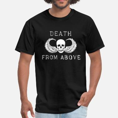 Uh 1 Helicopter death from above skull wing biker airborne vietnam - Men's T-Shirt