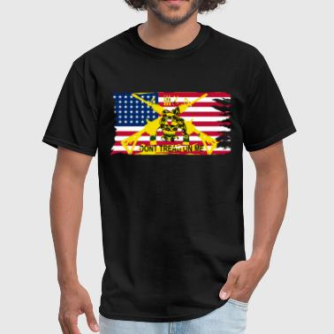 Worn American Flag Don't Tread On Me Gadsden Flag - Men's T-Shirt