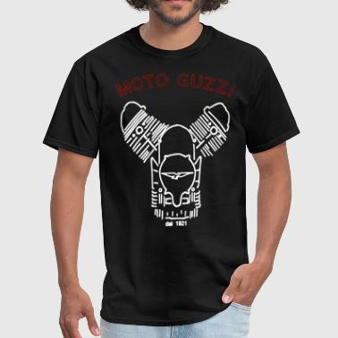 MOTO GUZZI GRAPHIC ENGINE DRAWING BLACK papa - Men's T-Shirt
