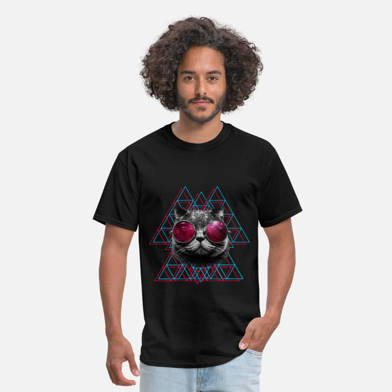Cool T-Shirts - 3D Space Cat T Shirt (Mens) - Men's T-Shirt black
