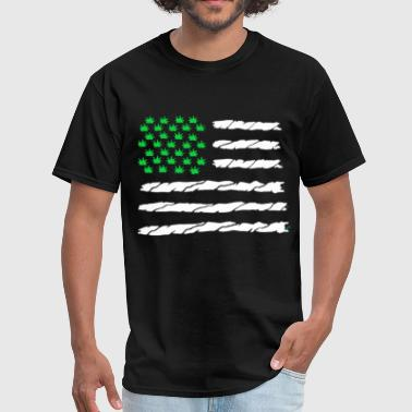 California Born And Raised Marajuana American Flag Dope Nation Black Tank Top - Men's T-Shirt