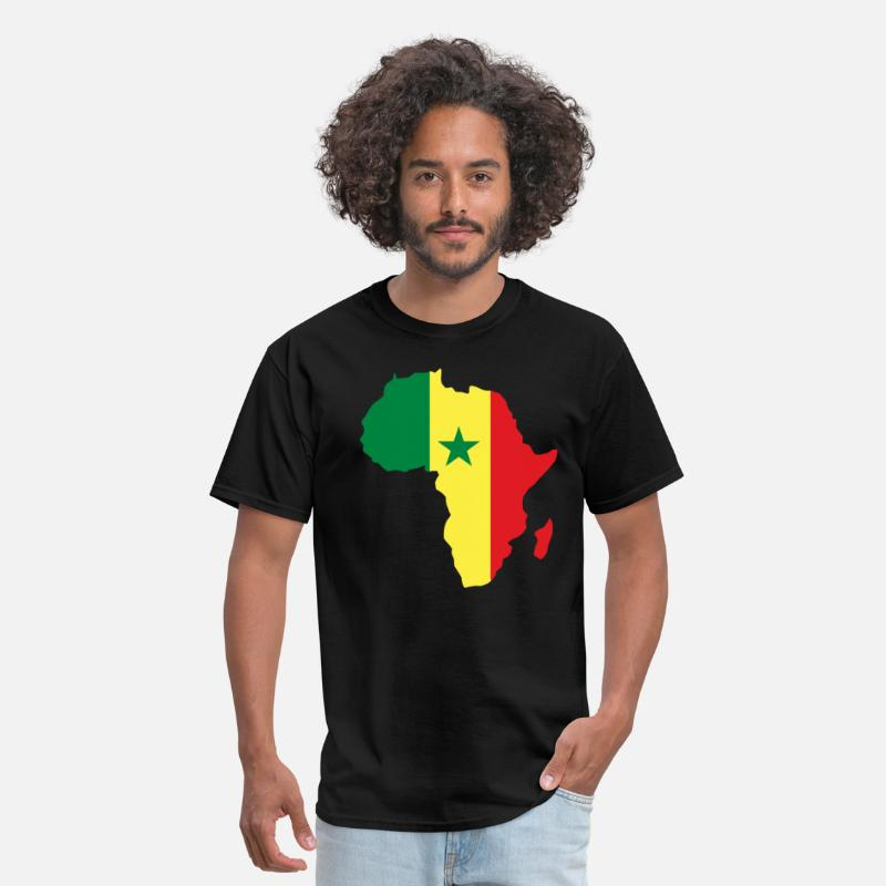 Africa Map T-shirt T-Shirts - Senegal Flag Africa Map T-Shirt - Men's T-Shirt black