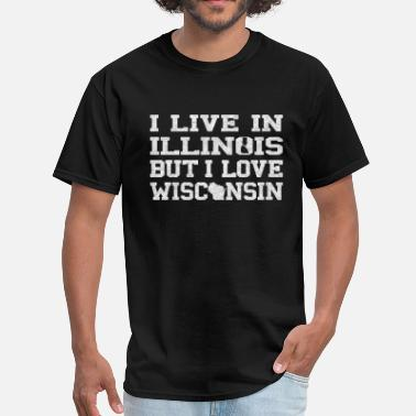 Illinois Wisconsin Live Illinois Love Wisconsin - Men's T-Shirt