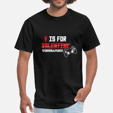 Videogames Awesome V is for Valentine videogamers  - Men's T-Shirt