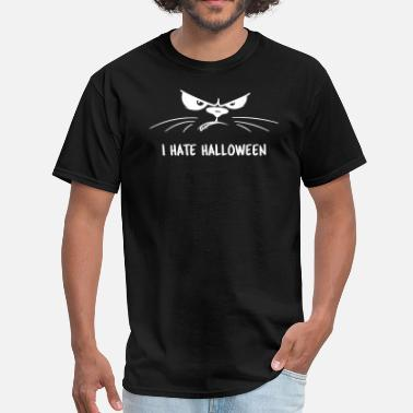 I Hate Cats Angry Cat I Hate Halloween - Men's T-Shirt