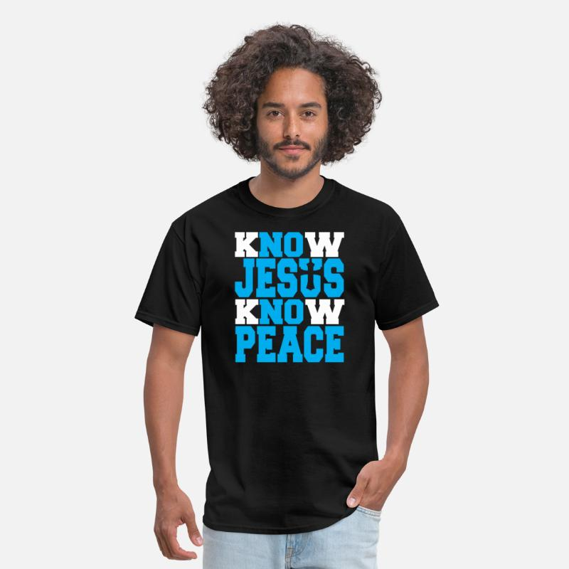 Jesus T-Shirts - KNOW JESUS KNOW PEACE - Men's T-Shirt black