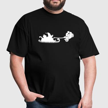Santa Christmas Sleigh with his sportbike - Men's T-Shirt
