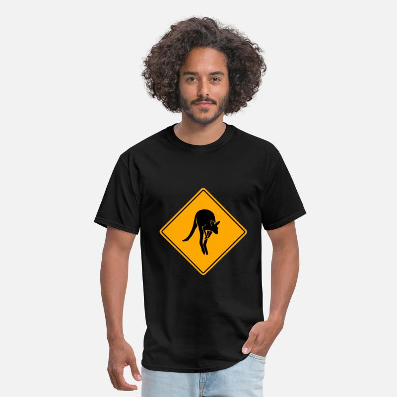 Kangaroo T-Shirts - Kangaroo Road Sign - Men's T-Shirt black