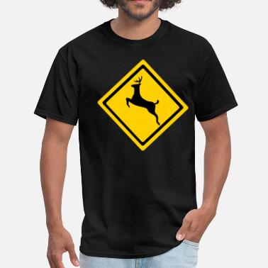 Stag And Doe Deer Crossing Sign - Men's T-Shirt