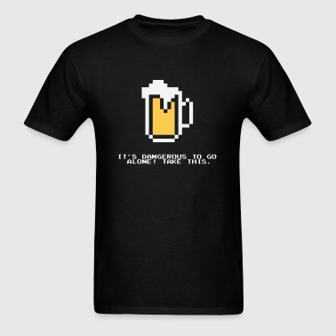 Funny joke about drinking beer and gaming - Men's T-Shirt