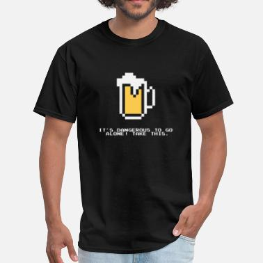 Gaming Jokes Funny joke about drinking beer and gaming - Men's T-Shirt