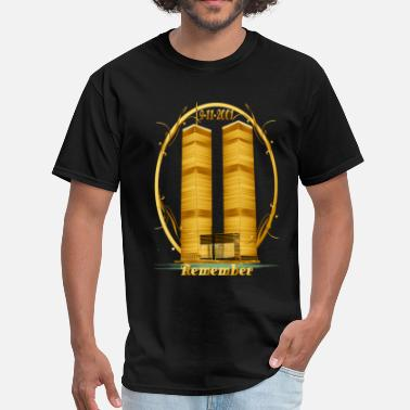 World Trade Center Gold Twin Towers lettered  - Men's T-Shirt