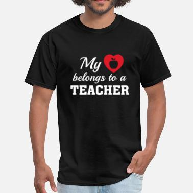 Teacher Heart Heart Belongs Teacher - Men's T-Shirt