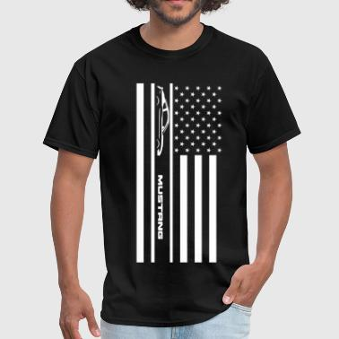1968 Ford Mustang Mustang American Flag - Men's T-Shirt