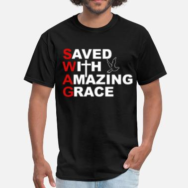 Too Big For Sleeves SWAG Saved With Amazing Grace Bible Verse Ephesian - Men's T-Shirt