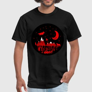 Raven Wolf Halloween Tshirt with Witch, Wolf, Raven Pumpkins - Men's T-Shirt