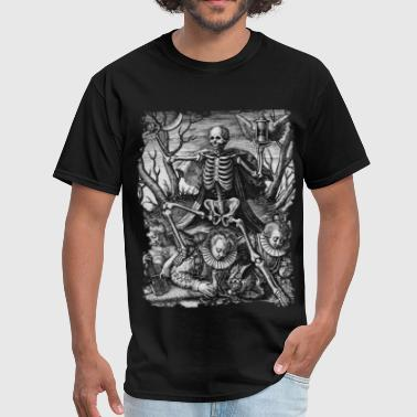 Occult Memento Mori Skull Skeleton Gothic Satanic T-shi DEATH AND ROYAL TWINS b&w - Men's T-Shirt