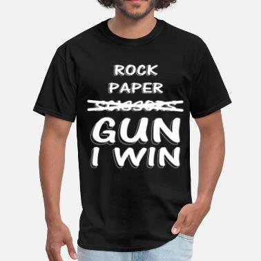 Anchorman Ron Burgundy Will Ferrell Rock Paper Scissors GUN I Win Funny Ladies V Neck - Men's T-Shirt