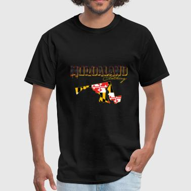 murdaland clothing blk and yellow with state - Men's T-Shirt
