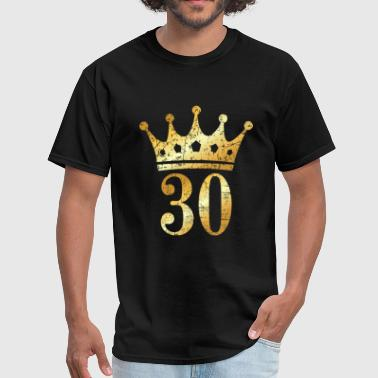 30th 30th Birthday Crown Number 30 (Ancient Gold) - Men's T-Shirt