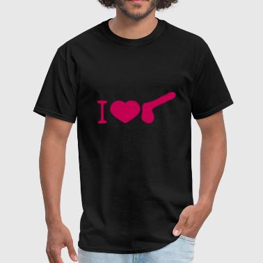 Penis Lover i love heart gay gay cock lover penis big man male - Men's T-Shirt