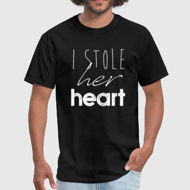 I Stole Her Heart Wedding Couples Gift - Men's T-Shirt