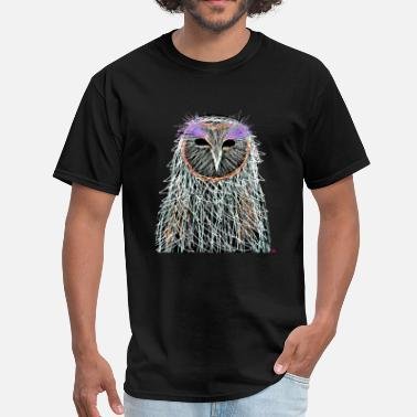 Night Owl magical white owl on crazy dark night spiral art - Men's T-Shirt