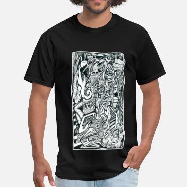 India Psychedelic Psy Anxiety Attack by Brian Benson - Men's T-Shirt