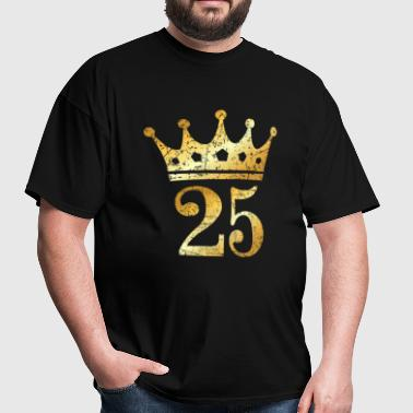 25th Birthday Crown Number 25 (Ancient Gold) - Men's T-Shirt